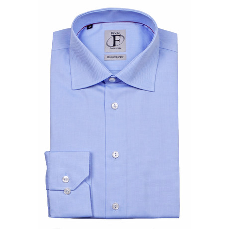 Pinpoint Weave Textured Button-Down Shirt // Light Blue