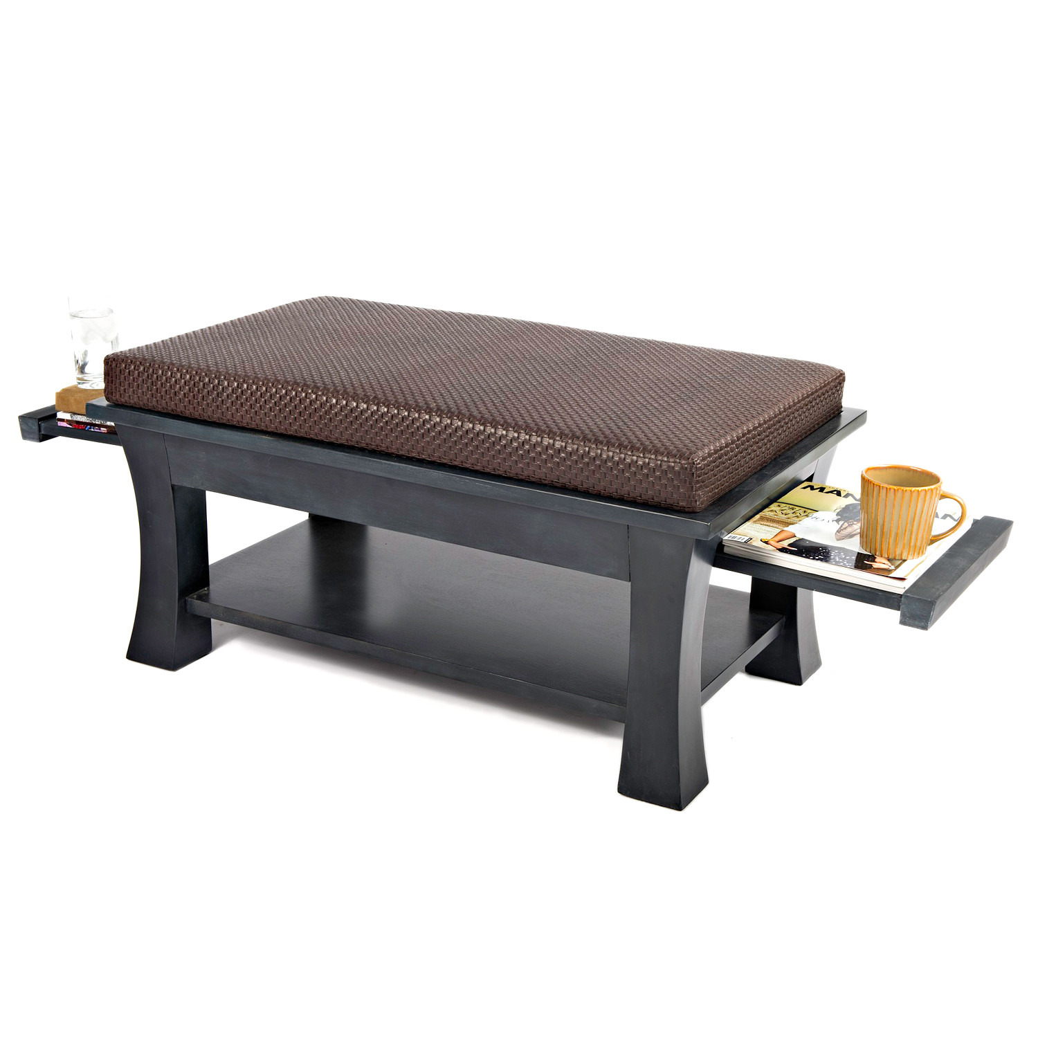 Dolton Table Ottoman Pull Out Shelves Brown Couef Touch