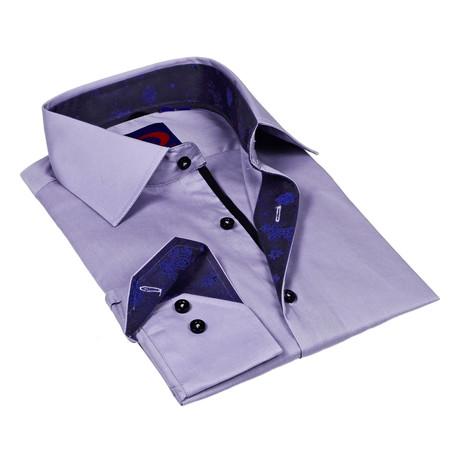 Button-Down Shirt // Grey + Blue Paisley Trim