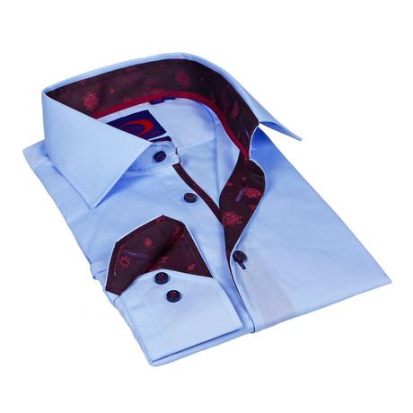 Button-Down Shirt + Paisley Trim // Light Blue + Maroon