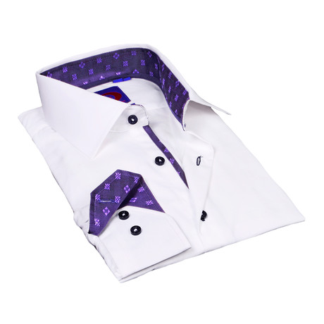 Button-Down Shirt + Geometric Trim // White + Purple