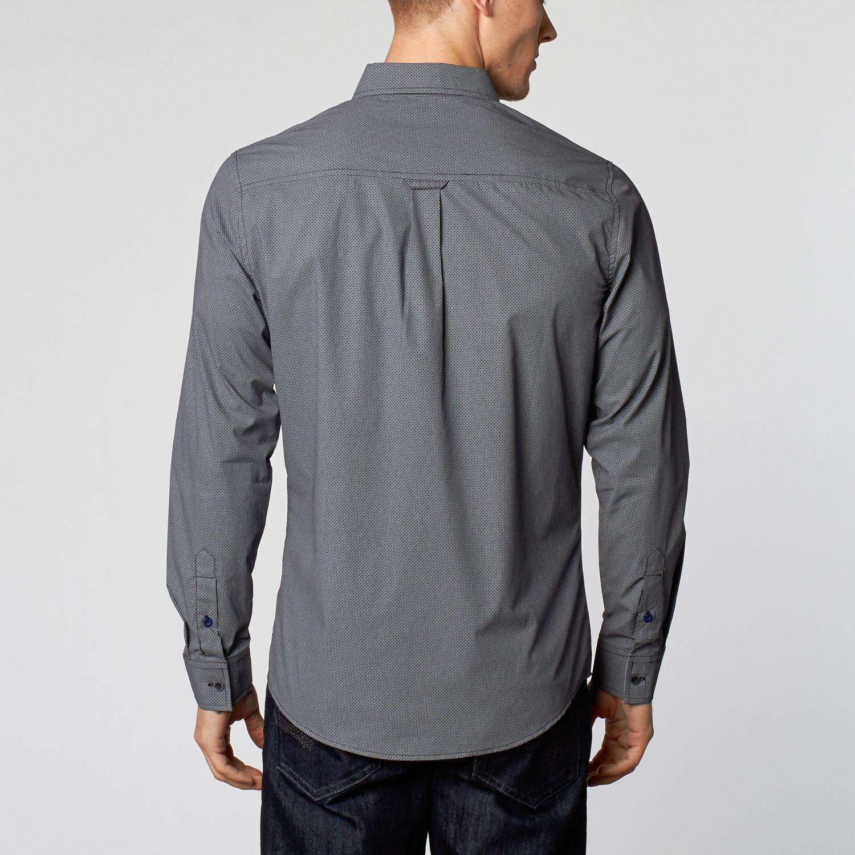 Woven Button Up Shirt Navy S Smash Trends Weekend
