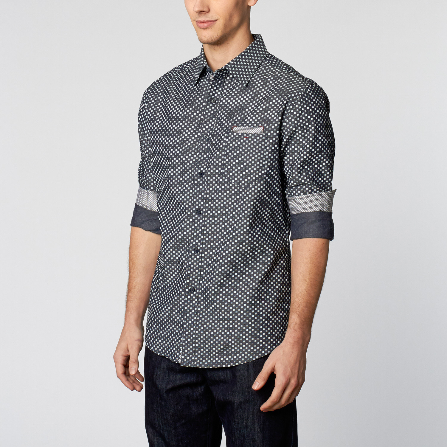 Woven Patterned Button Up Shirt Navy S Smash Trends