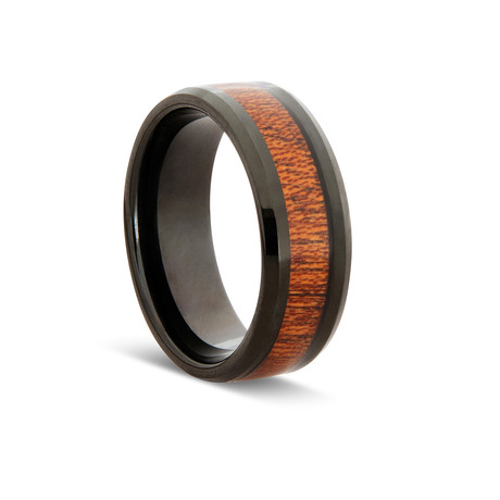 Urban Wood Tungsten Ring // Black