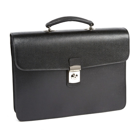 Italian Saffiano Slim Briefcase // Black