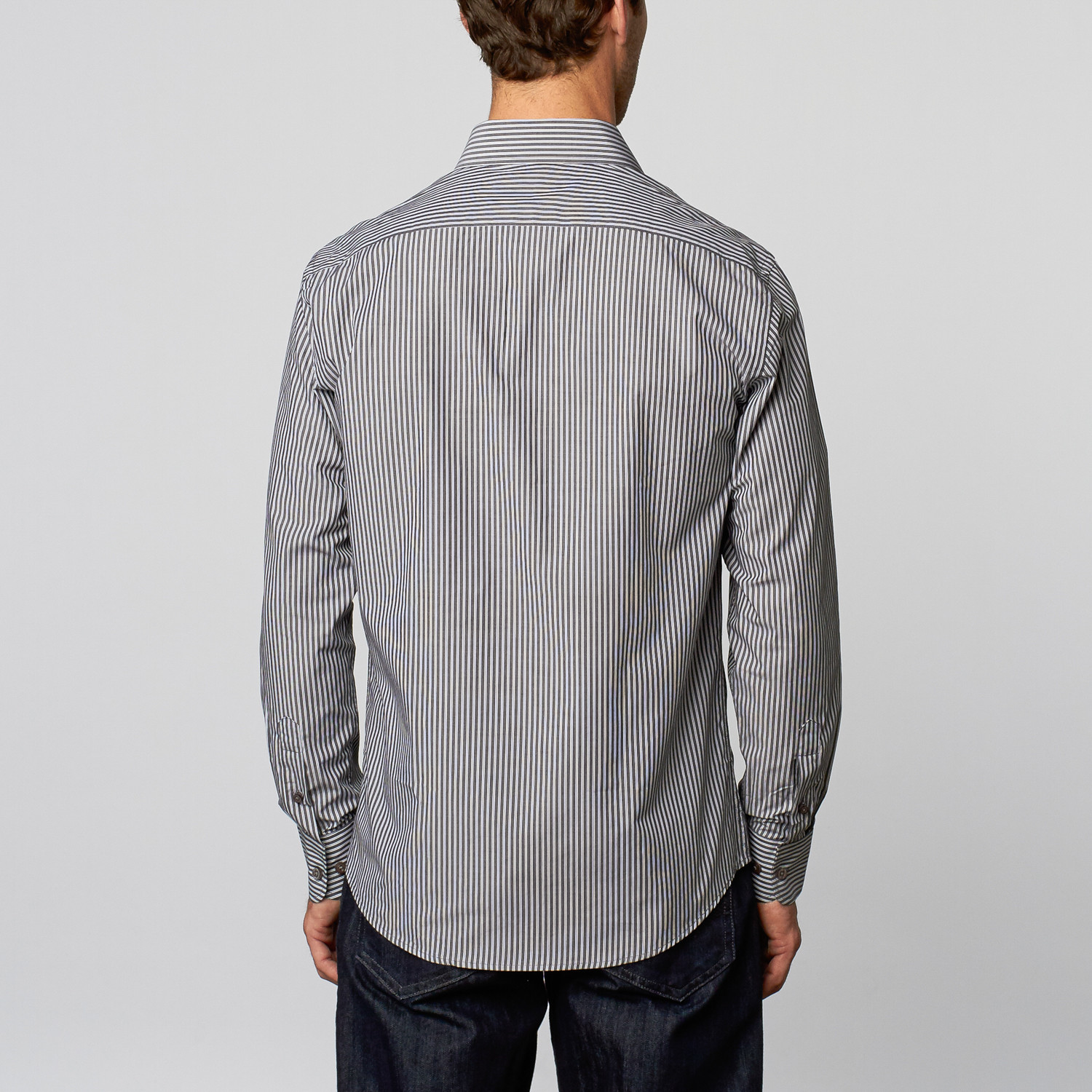 Vertical stripe dress shirt dark grey white s for Dark grey shirt dress