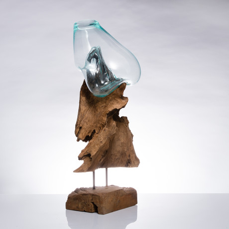 Teak Root + Molten Glass Vase (Large)