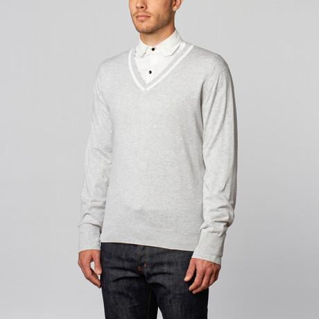 Loft 604 // Pure Cotton Contrast V-neck Pullover (S)