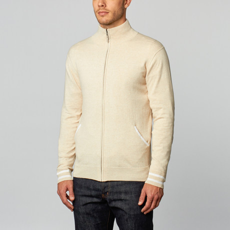 Cashmere Cotton Mock Neck Jacket // Beige