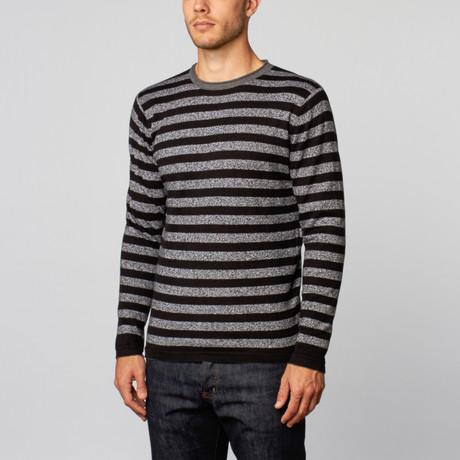 Loft 604 // Cashmere Cotton Reversible Stripe Crew // Black