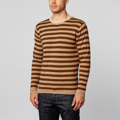 Loft 604 // Cashmere Cotton Reversible Stripes Crew // Beige