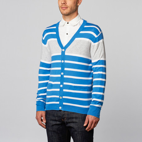Pure Cotton Lightweight Stripes Cardigan // Electric Blue (S)