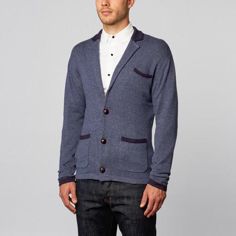 Loft 604 // Cashmere Cotton Contrast Lapel Blazer // Navy Melange (S)