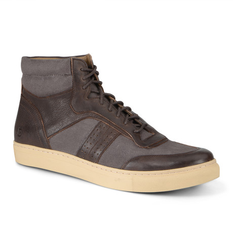 Concord High-Top Sneaker // Brown + Cream