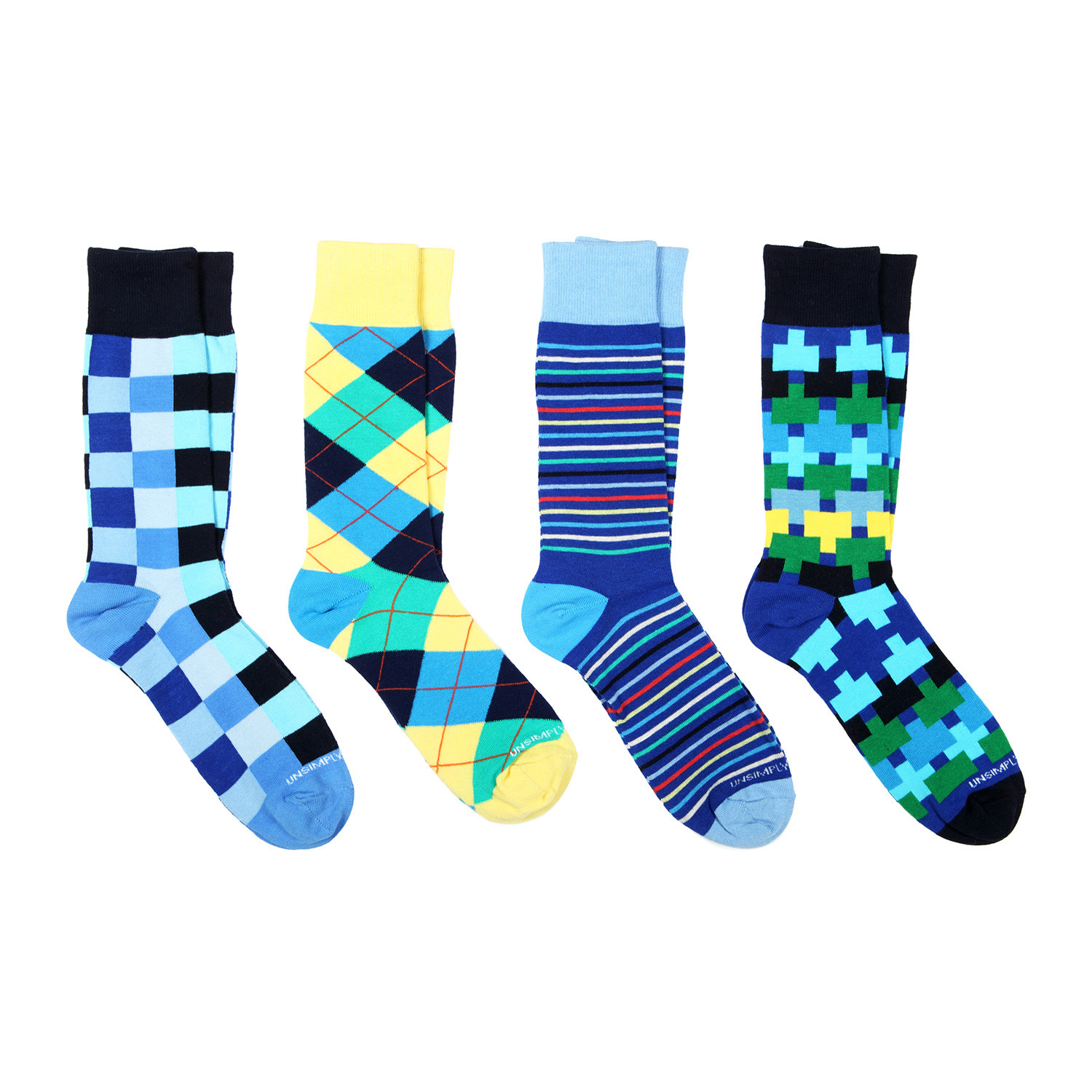 Dress socks blue mix pack of 4 unsimply stitched touch of