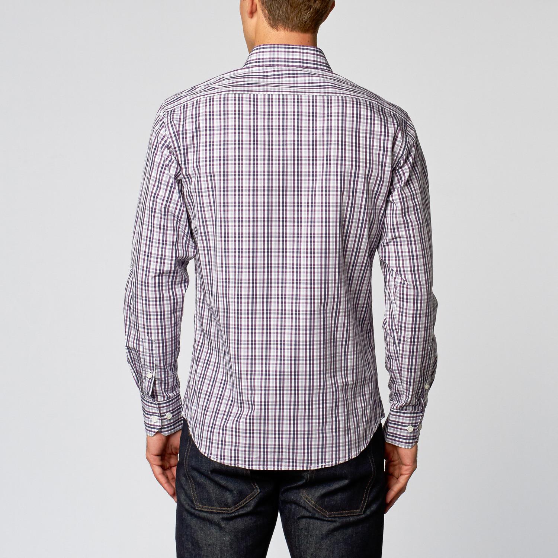 Casual Dress Shirt Purple Plaid Us 15r Slim Fit