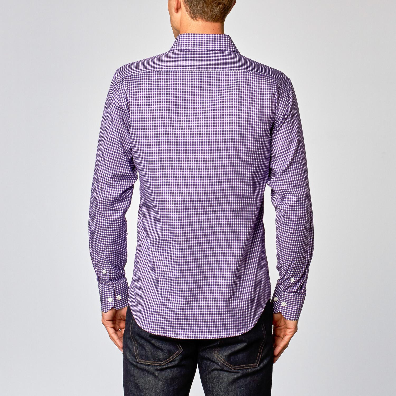 Modern Dress Shirt Purple Plaid Us 15r Slim Fit