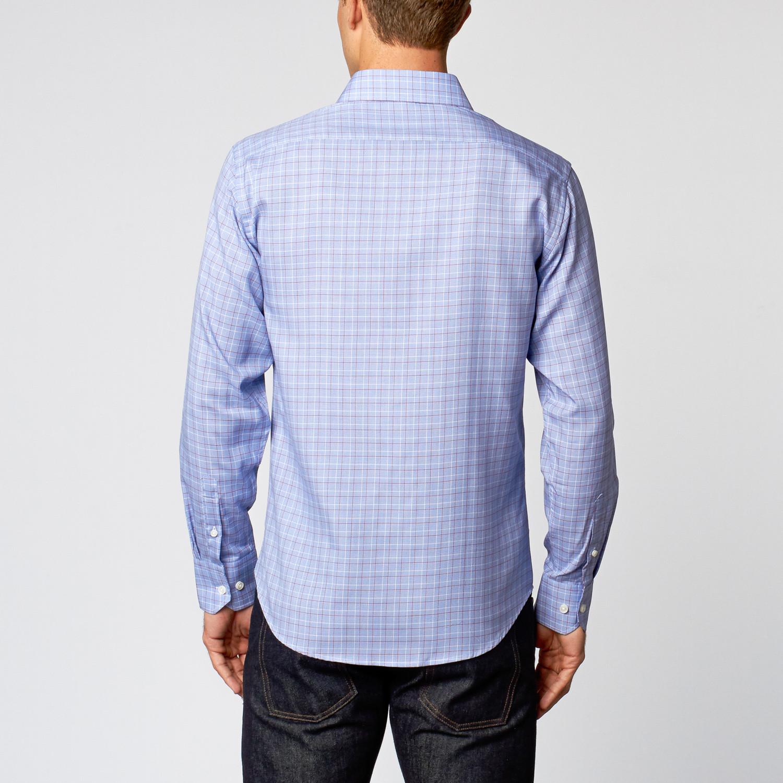 Dress shirt blue red plaid us 15r slim fit for Red plaid dress shirt