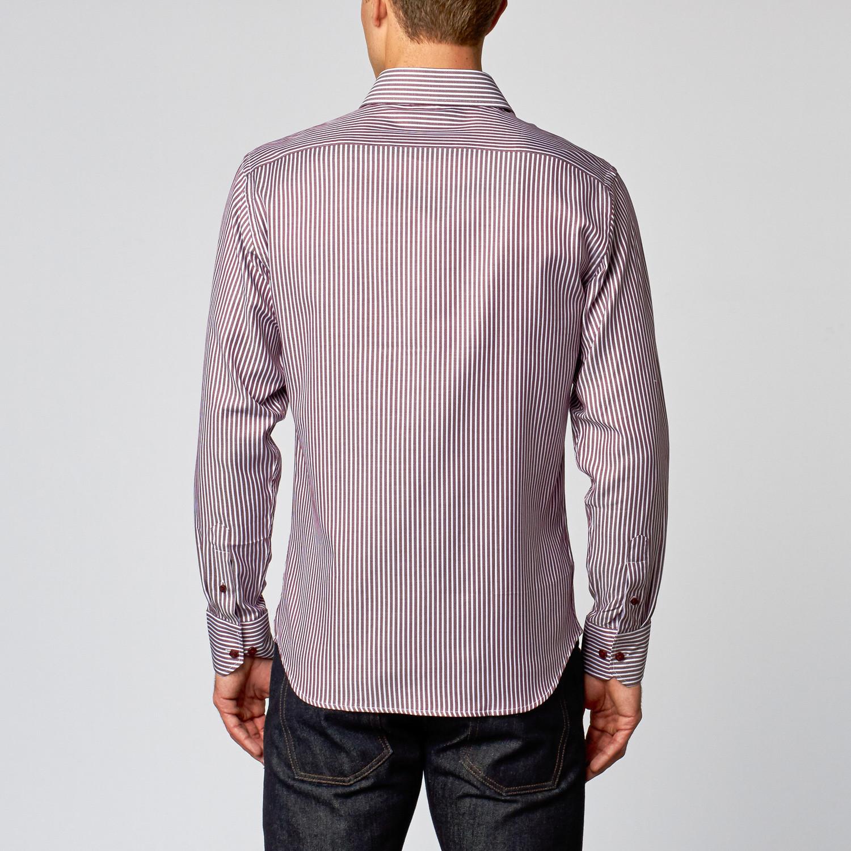 Sleek dress shirt burgundy herringbone us 15r slim for Burgundy fitted dress shirts