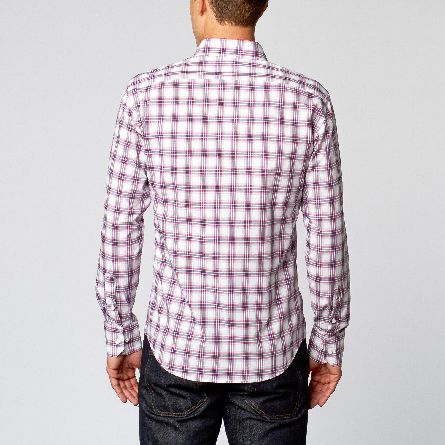 Casual dress shirt pink multi plaid s slim fit for Pink checkered dress shirt