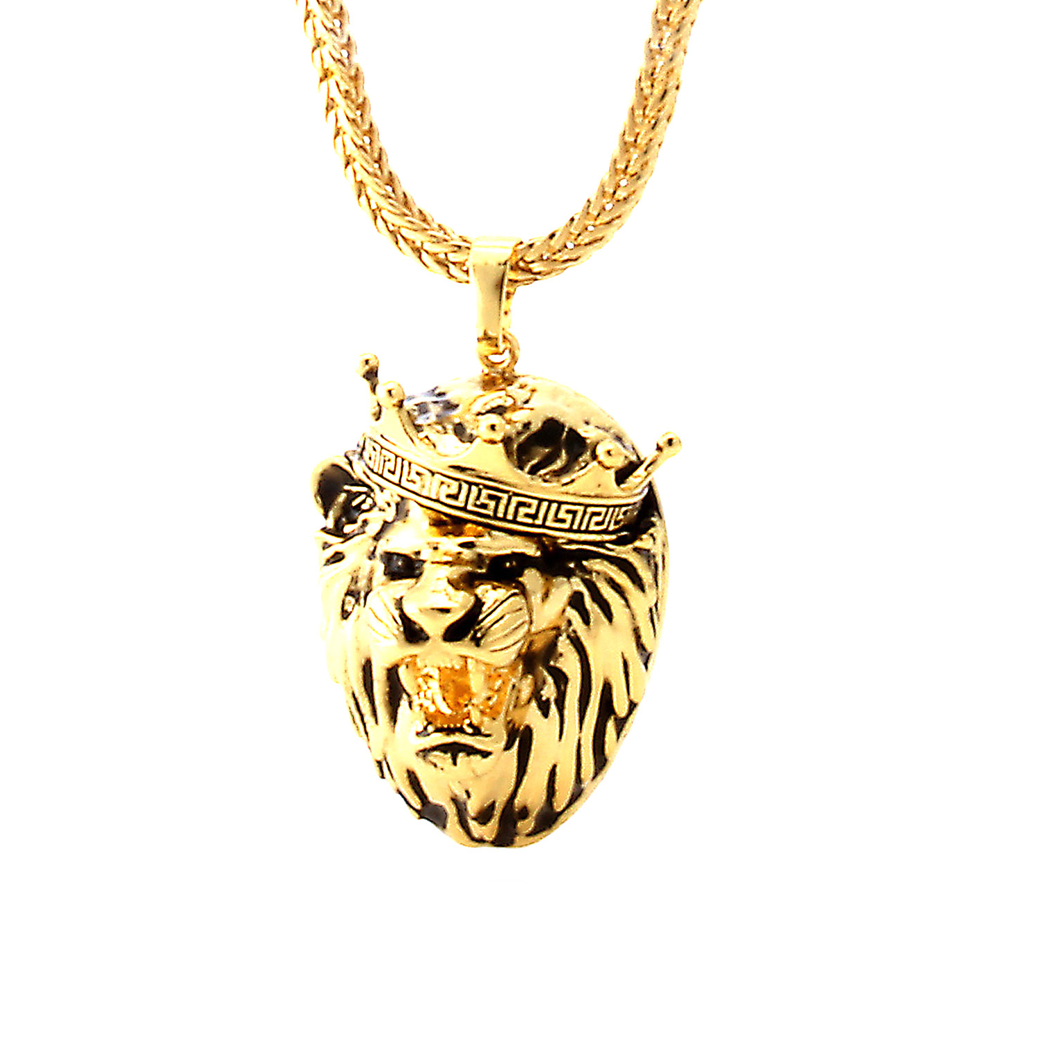 matching stainless lion chain necklace head p steel of gold s mens tone pendant w picture