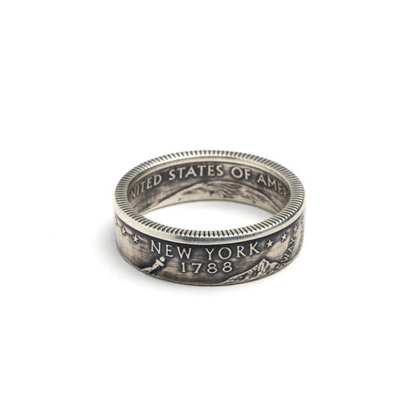 Silver Quarter Coin Ring // New York (Size 5)