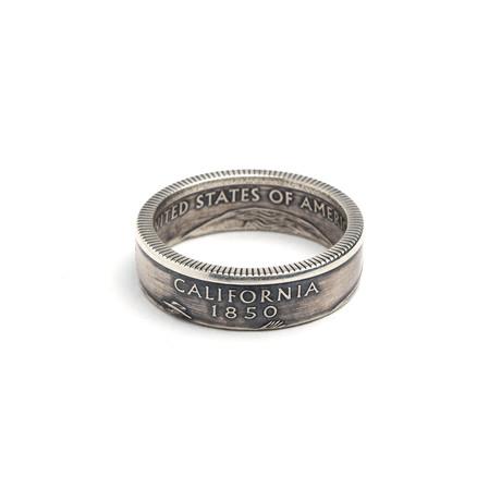 Silver Quarter Coin Ring // California (Size 5)