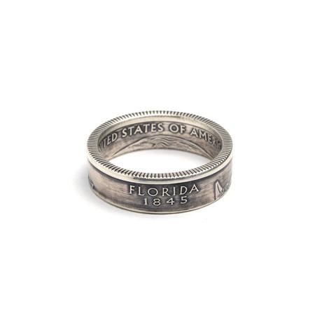Silver Quarter Coin Ring // Florida (Size 5)