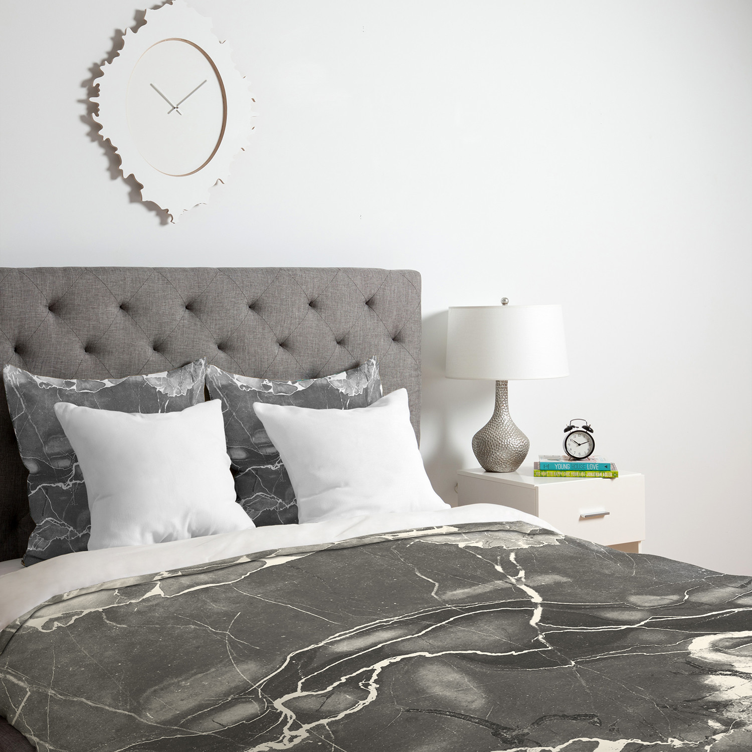 grey marble duvet cover (twin)  deny designs  touch of modern - grey marble duvet cover (twin)