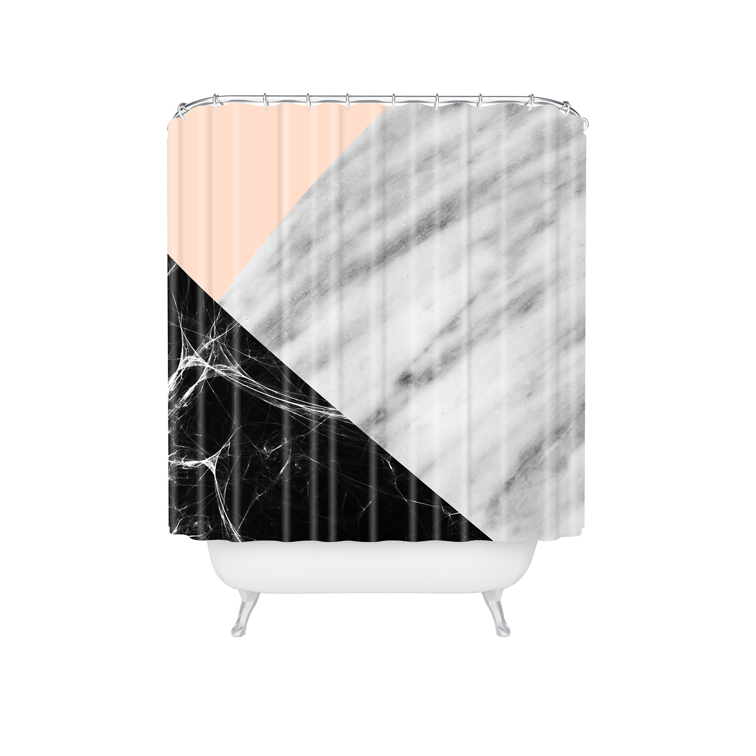 Pink Marble Collage Shower Curtain