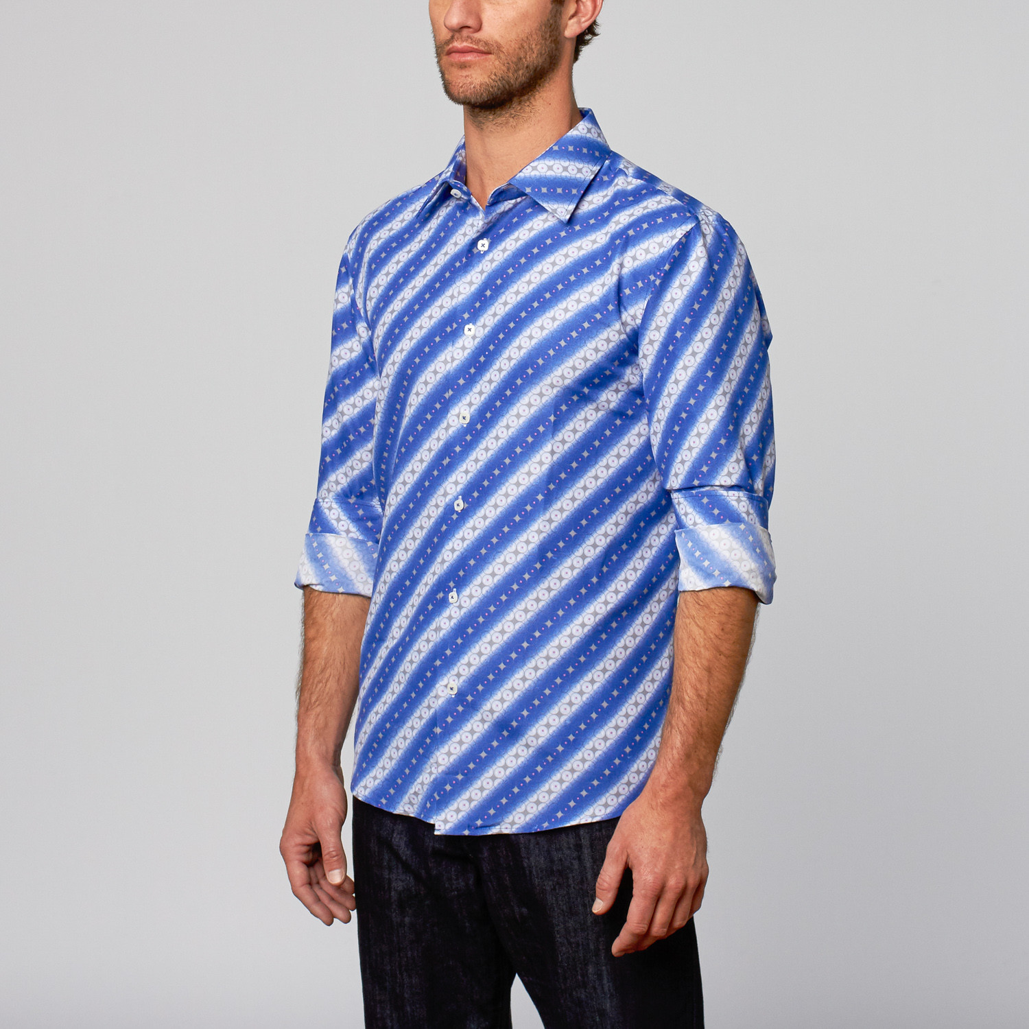 Modern fit button up shirt abstract stripe royal s for Royals button up shirt