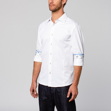 Modern Fit Button-Up Shirt // White Diamond