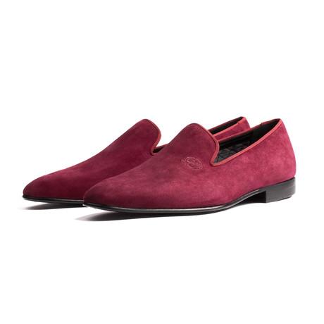 Eton Suede Loafer Slipper // Burgundy