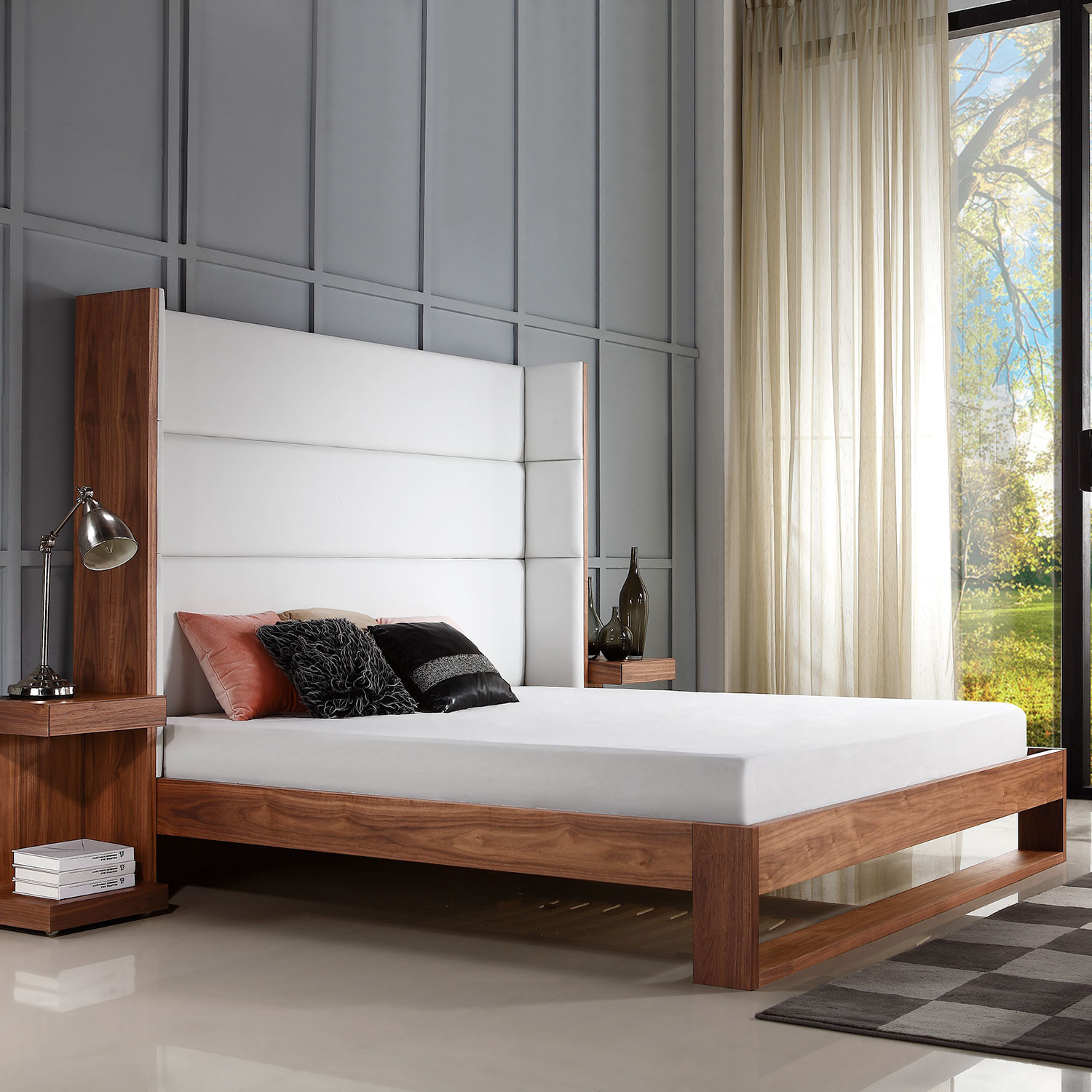 Lyon Walnut Bedroom Furniture Lyon Collection King Bed Walnut Veneer Taupe Fabric