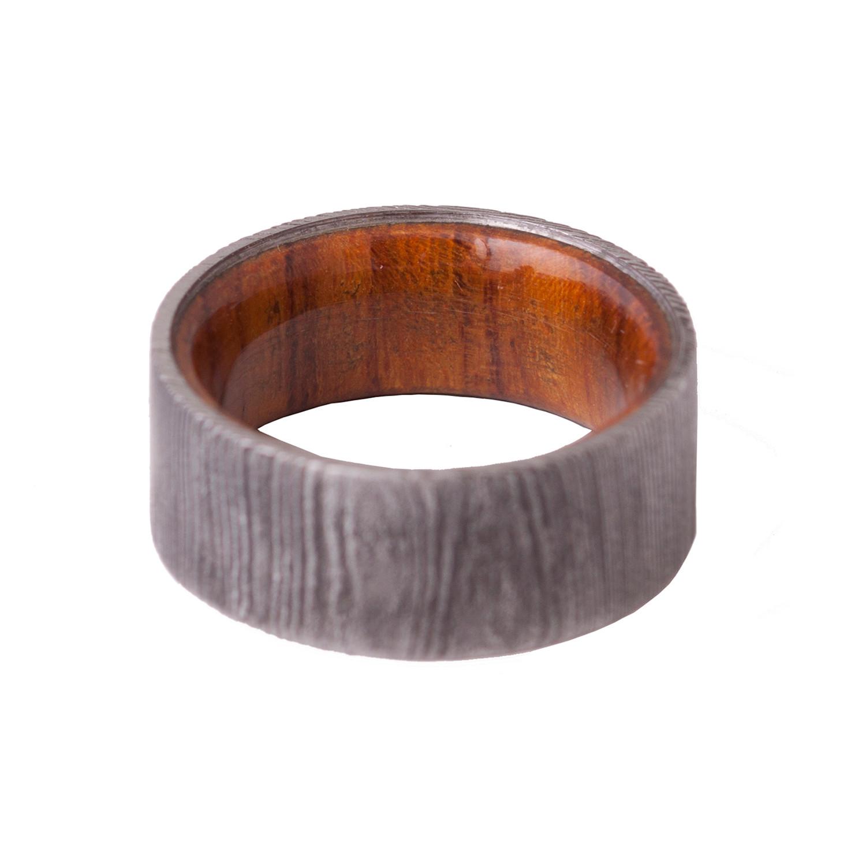 Damascus Steel Wood Ring Size 6 Dimalta Gioielli Since 1995