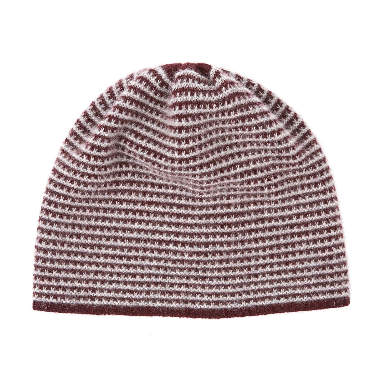 Cashmere Beanie Hat    2 Tone (Bordeaux + Light Heather Grey ... 6afddb5f9146