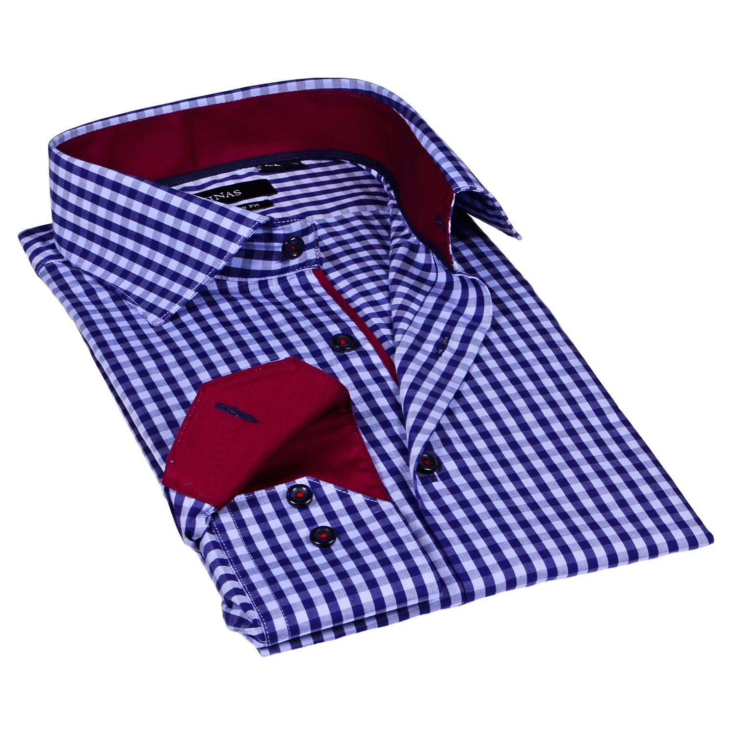 Gingham Dress Shirt Navy S Levinas Collection