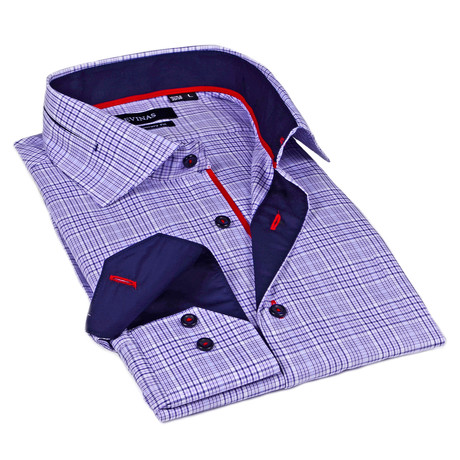 Plaid Dress Shirt // Purple