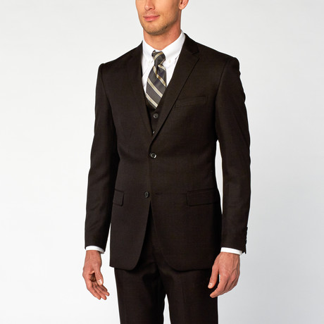 Modern Fit Shark Skin 3-Piece Suit // Black (US: 36S)