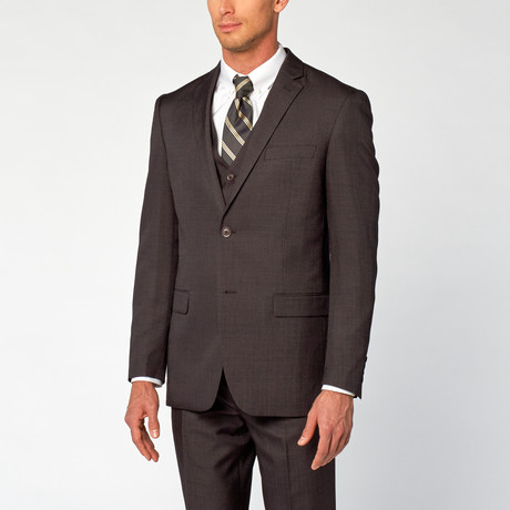 Modern Fit Shark Skin 3-Piece Suit // Charcoal (US: 36S)