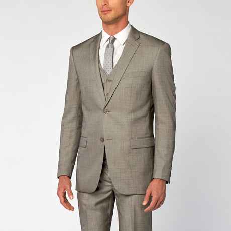 Modern Fit Shark Skin 3-Piece Suit // Gray (US: 36S)