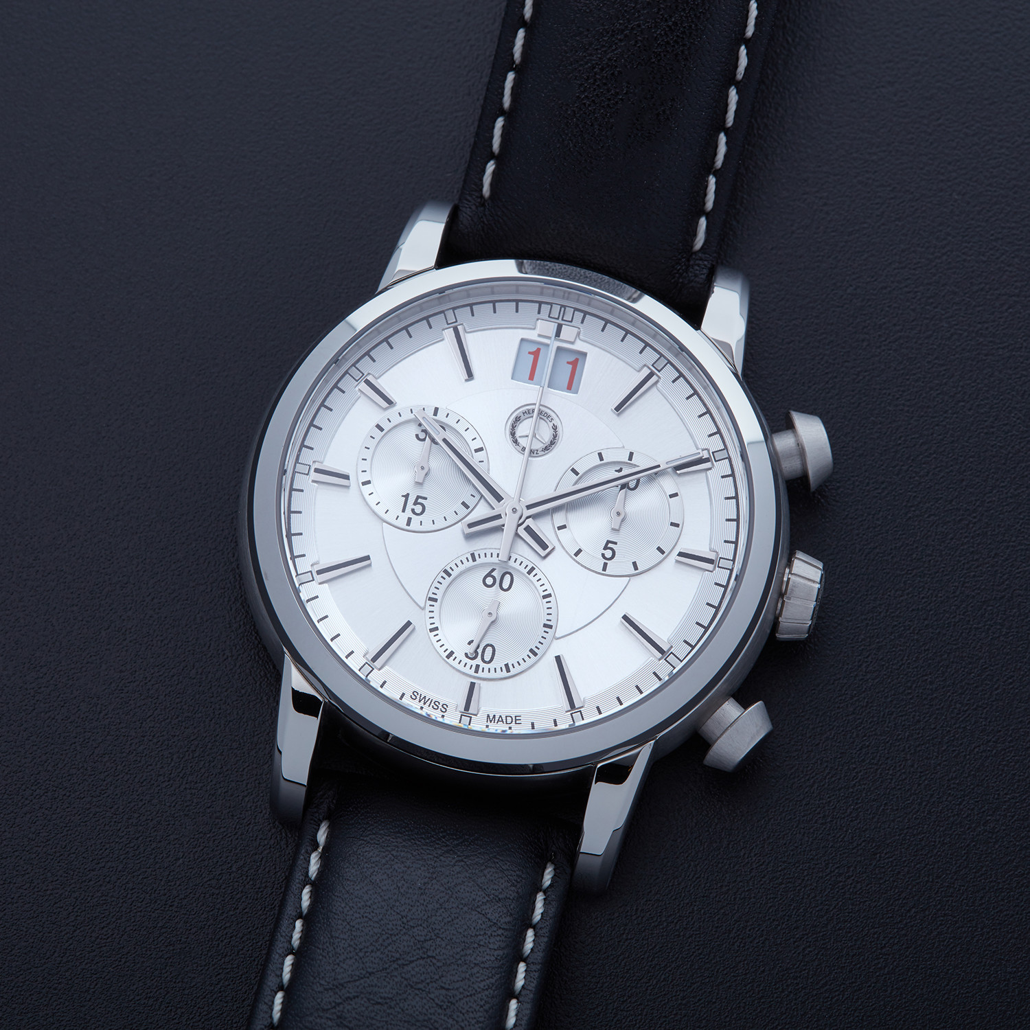 Mercedes Benz Men's Perforated Leather Chronograph Dial ... |Mercedes Benz Chrono Watches
