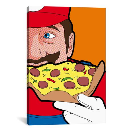 """Mario Pizza // Gregoire 'Leon' Guillemin (26""""W x 18""""H x 0.75""""D)"""