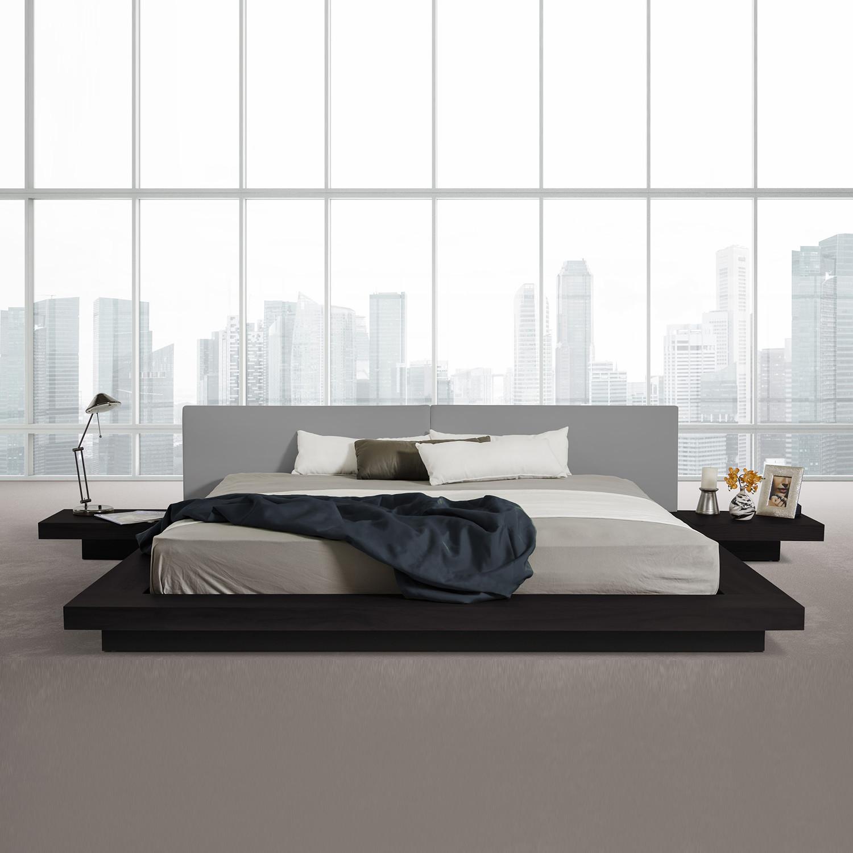 Modrest Opal Modern Low Profile Platform Bed Black Grey Queen
