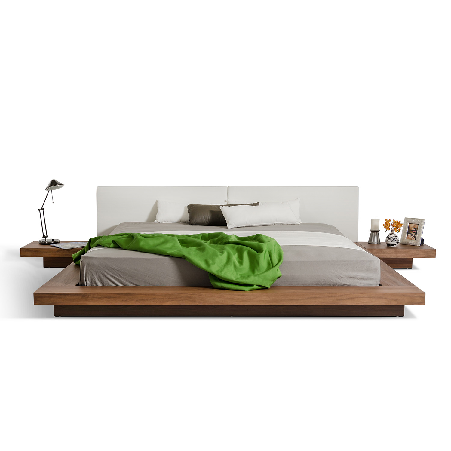 Modrest opal modern low profile platform bed walnut Modern platform beds