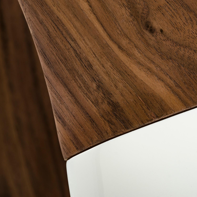 White Walnut Coffee Table: Modrest Tyra Contemporary White + Walnut Coffee Table