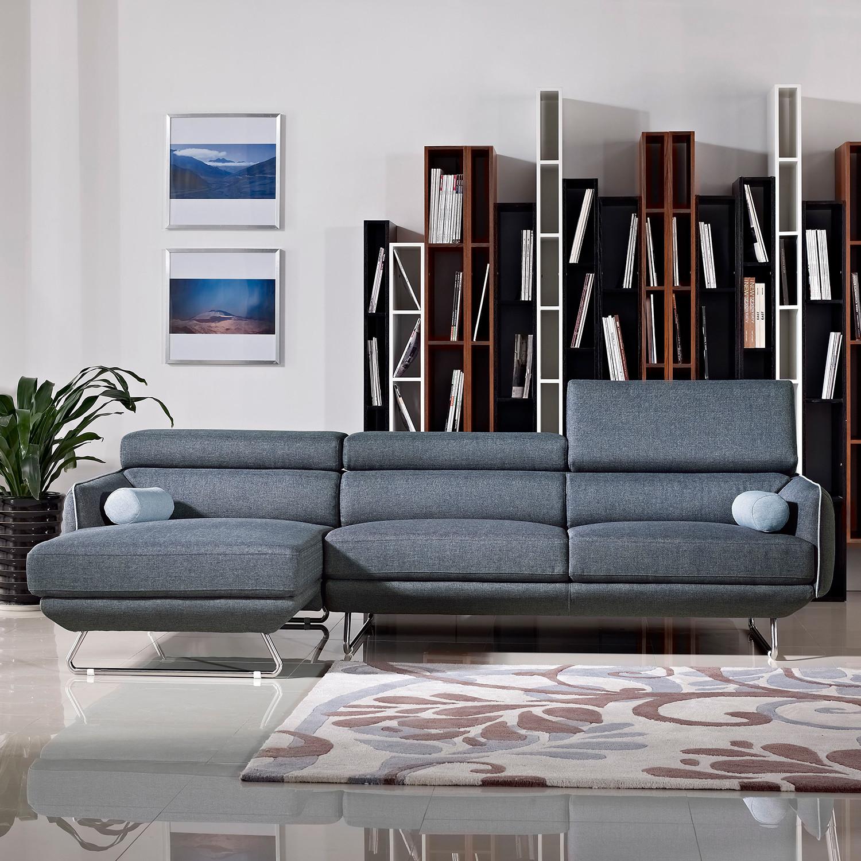 Divani Casa Pierce Modern Blue Fabric Sectional Sofa