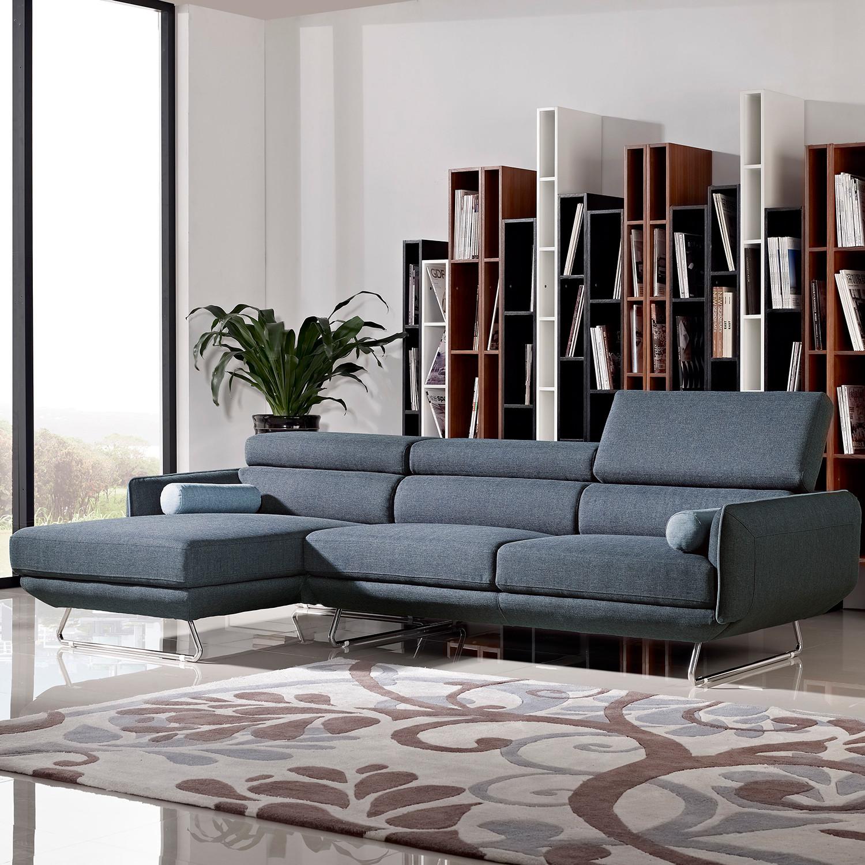 Divani Casa Pierce Modern Blue Fabric Sectional Sofa VIG