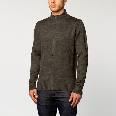 Long Sleeve Zip Sweater // Dark Grey (S)