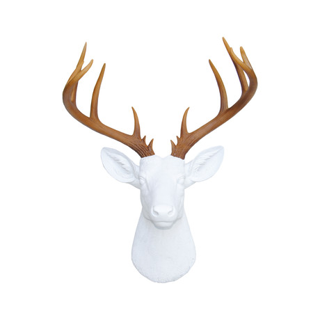 14 Point Deer Head Wall Mount (White + Gold)